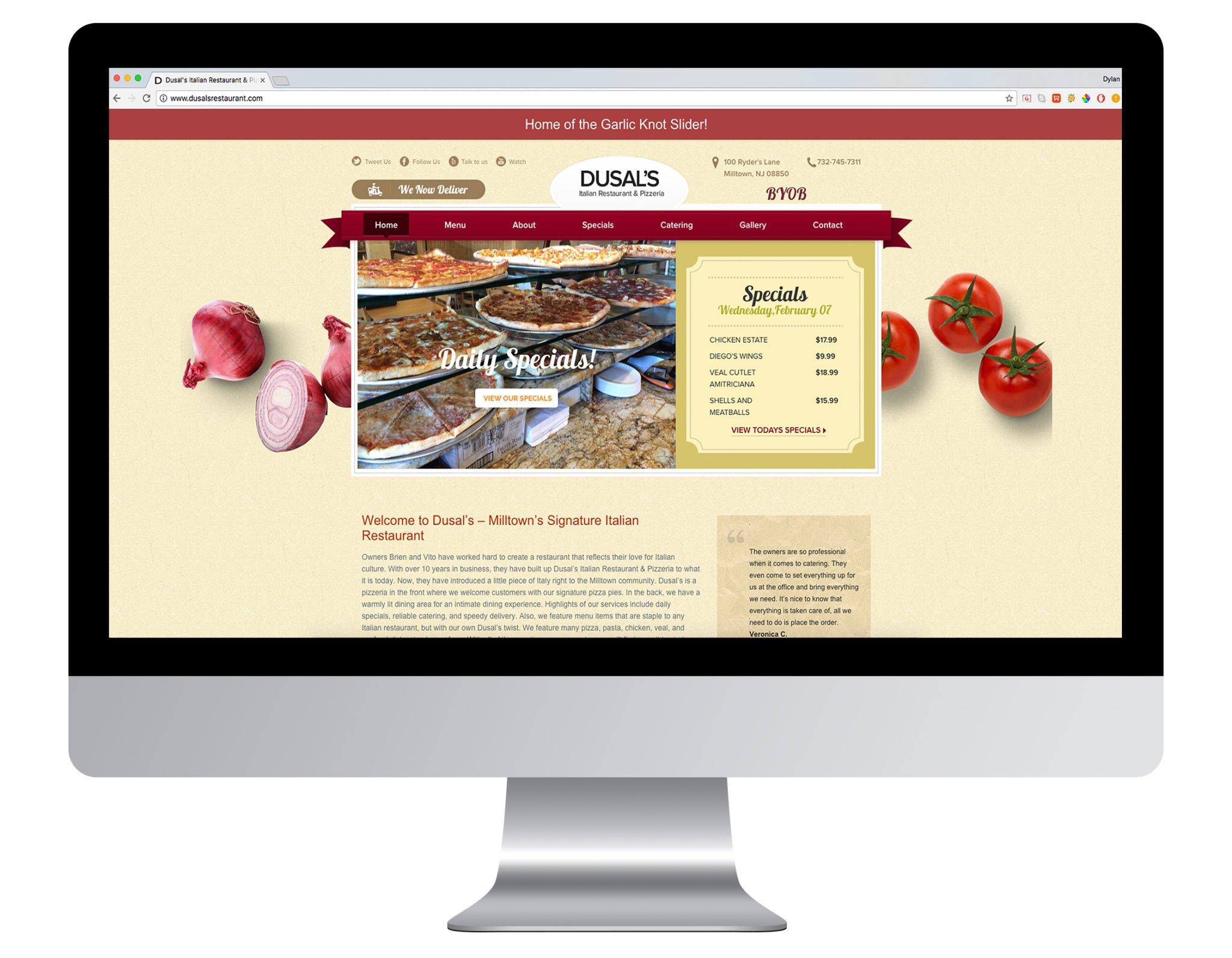Web Design Portfolio Sample - Dusals Restaurant