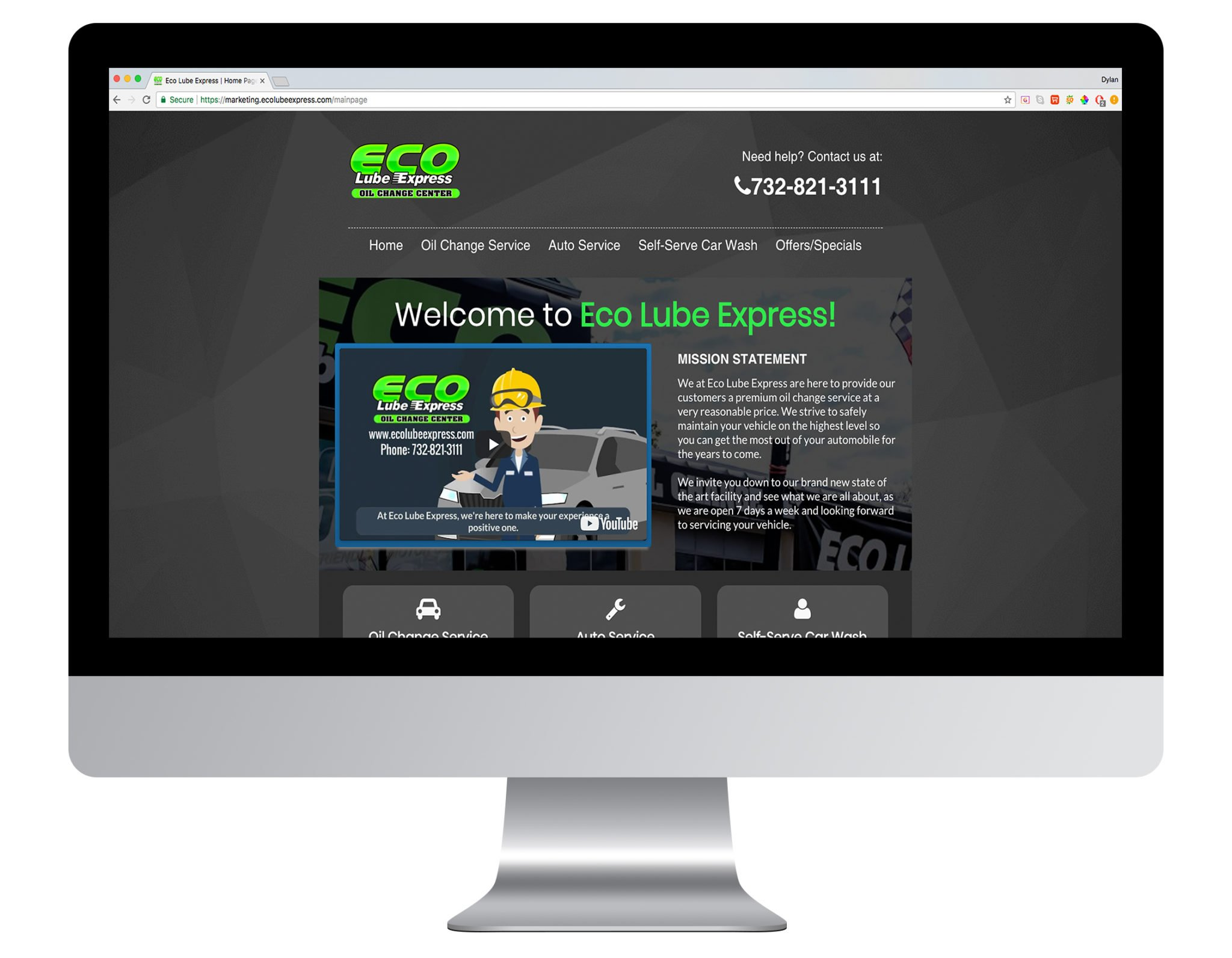 Web Design Portfolio Sample - Eco Lube Express