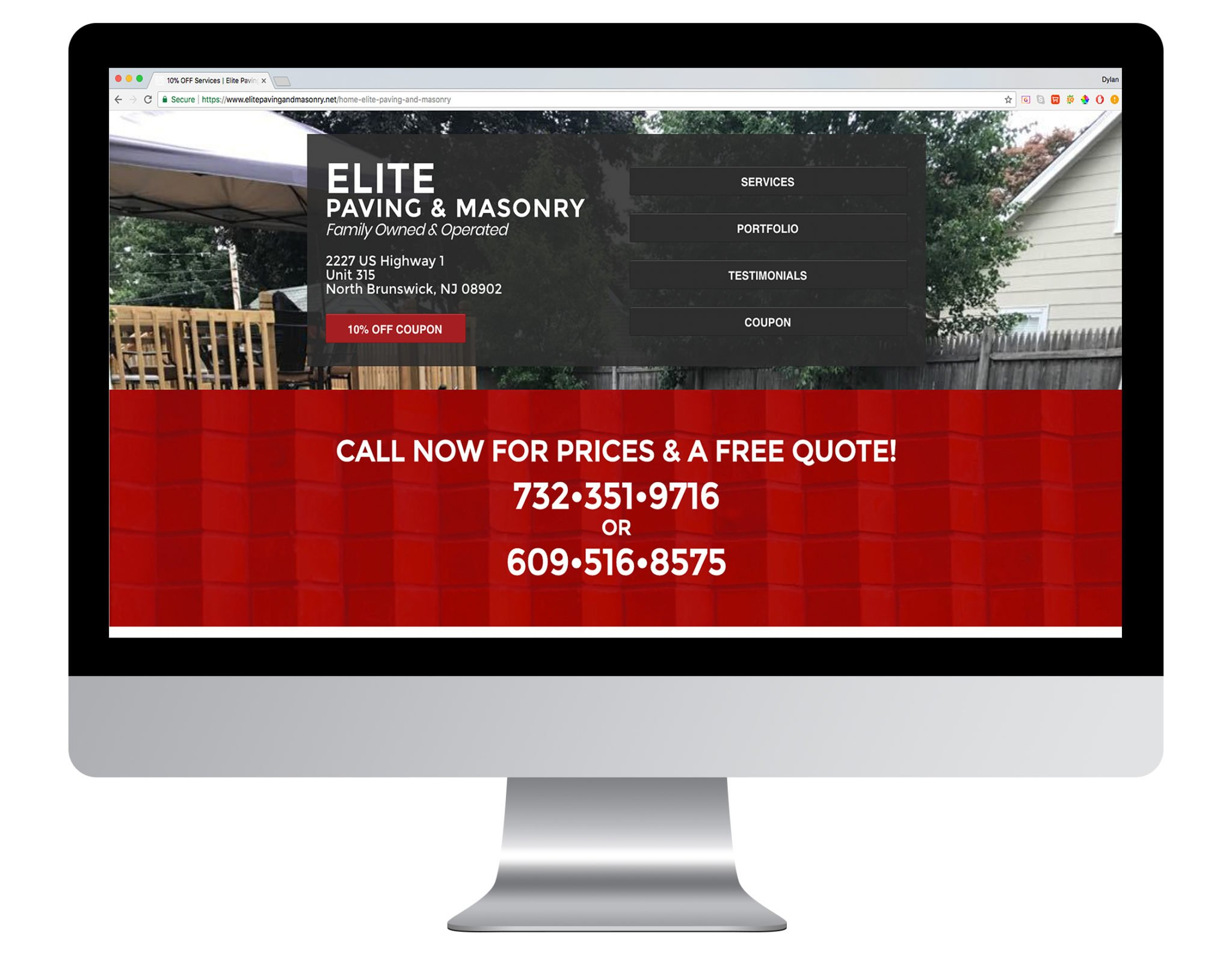 Web Design Portfolio Sample - Elite Paving and Masonry